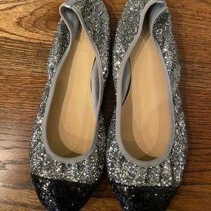 Jcrew Lula Glitter Captoe Ballet Flats size 7.5